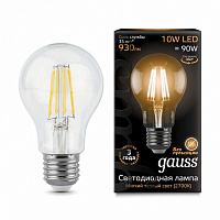 Лампа Gauss LED Filament A60 E27 10W 930lm 2700К 1/10/40 - Clear