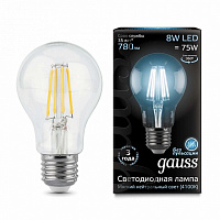 Лампа Gauss LED Filament A60 E27 8W 780lm 4100К 1/10/40 - Clear