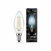 Лампа Gauss LED Filament Свеча E14 5W 450lm 4100К 1/10/50 - Clear