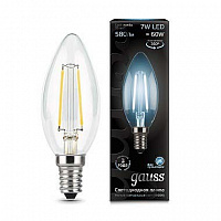 Лампа Gauss LED Filament Свеча E14 7W 580lm 4100К 1/10/50 - Clear