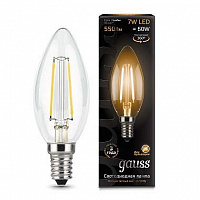 Лампа Gauss LED Filament Свеча E14 7W 550lm 2700К 1/10/50 - Clear