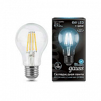Лампа Gauss LED Filament A60 E27 6W 630lm 4100К 1/10/40 - Clear