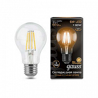 Лампа Gauss LED Filament A60 E27 6W 600lm 2700К 1/10/40 - Clear